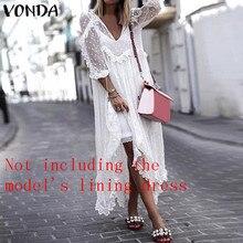 VONDA Holiday Summer White Lace Dress 2019 Women Sexy V-Neck Dot Hollow Asymmetrical Hem Dress Plus Size Cardigan Vestidos 5XL