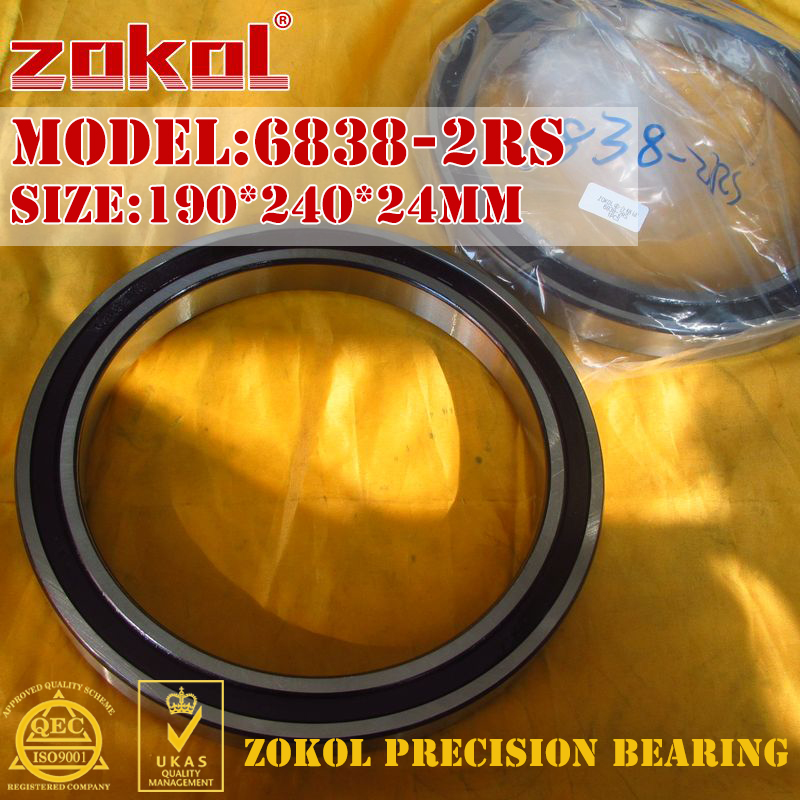 ZOKOL 6838 RS bearing 6838 2RS 1000838 61838 Deep Groove ball bearing 190 240 24mm