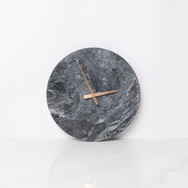 Marmuru zegar minimalistyczny nowoczesny Design zegary ścienne kuchnia sztuki Nordic osobowości zegarek ścienny akcesoria do dekoracji domu w Zegary ścienne od Dom i ogród na  Grupa 3