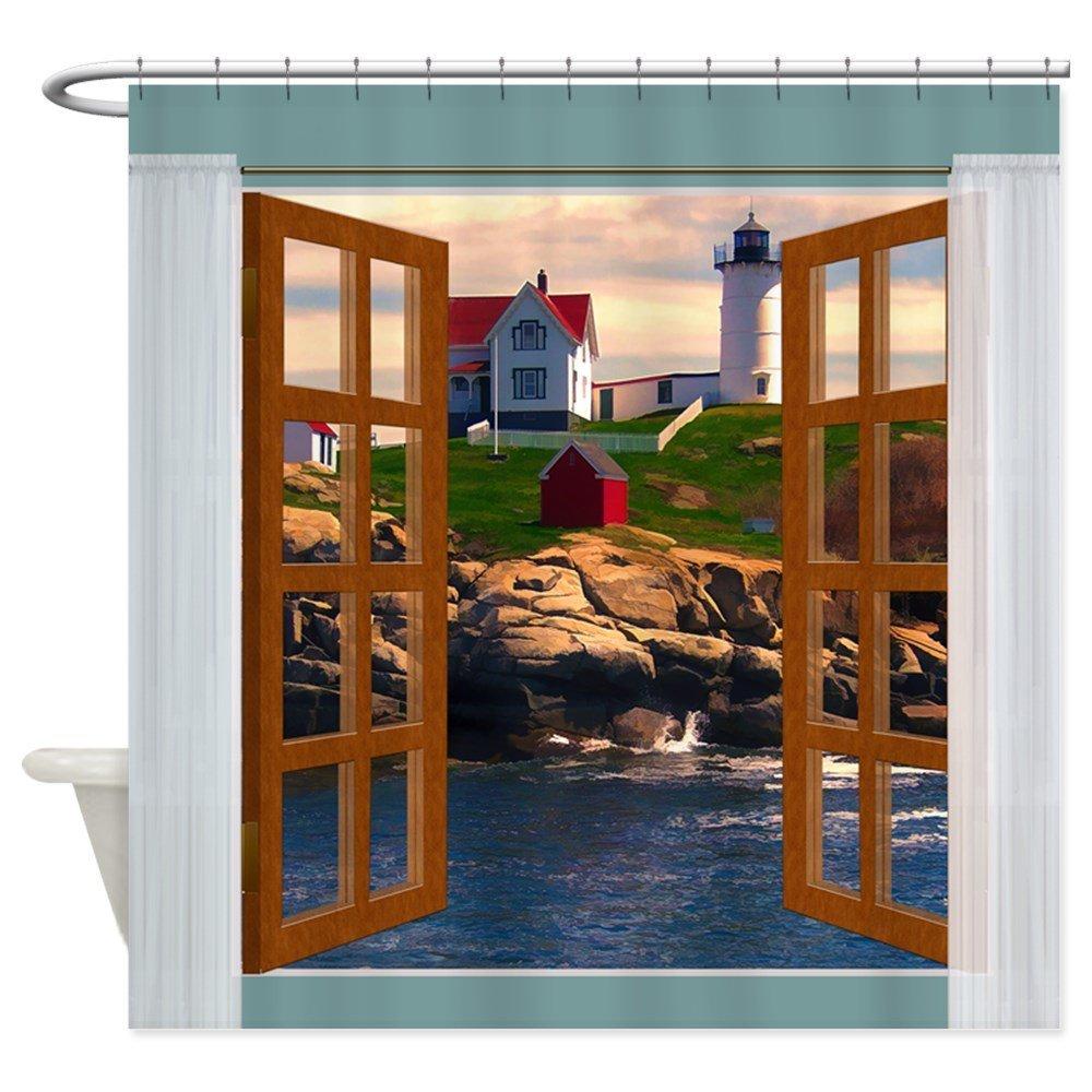 Window View Lighthouse Sunset Shower Curtain Mat ...