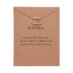 Collier circulaire minimaliste pour femmes, Vintage, chaîne de clavicule en or, bijoux de carte KARMA, cadeau de fête