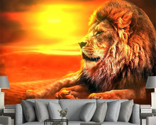 beibehang wallpaper roll Wallpaper home decoration dusk HD hand-painted lion background decorative mural for walls 3 d