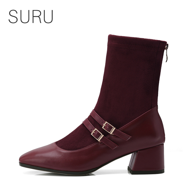 Suru Double Strap Mary Jane Sock Boots Women 5cm Or 2 Inch Chunky Heel Square Toe