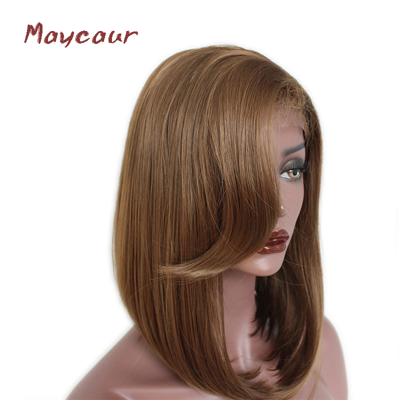 Short Straight Lace Front Wigs With Bangs Brown Bob Synthetic Hair Wig For Black Women