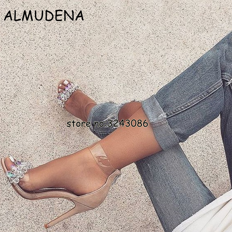 Latest Design Rhinestone PVC Transparent Stiletto Sandals Shoes Crystal Ankle Wrap Lady High Heels Shoes Suede Sexy Dance Shoes 2017 new ankle wrap rhinestone high heel shoes woman abnormal jeweled heels gladiator sandals women pvc padlock sandals shoes