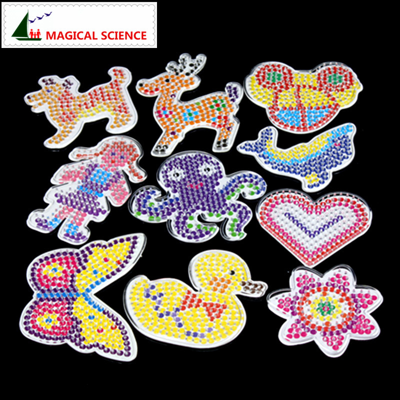 10pc Puzzle Pegboards Patterns with colored paper For 5mm Has