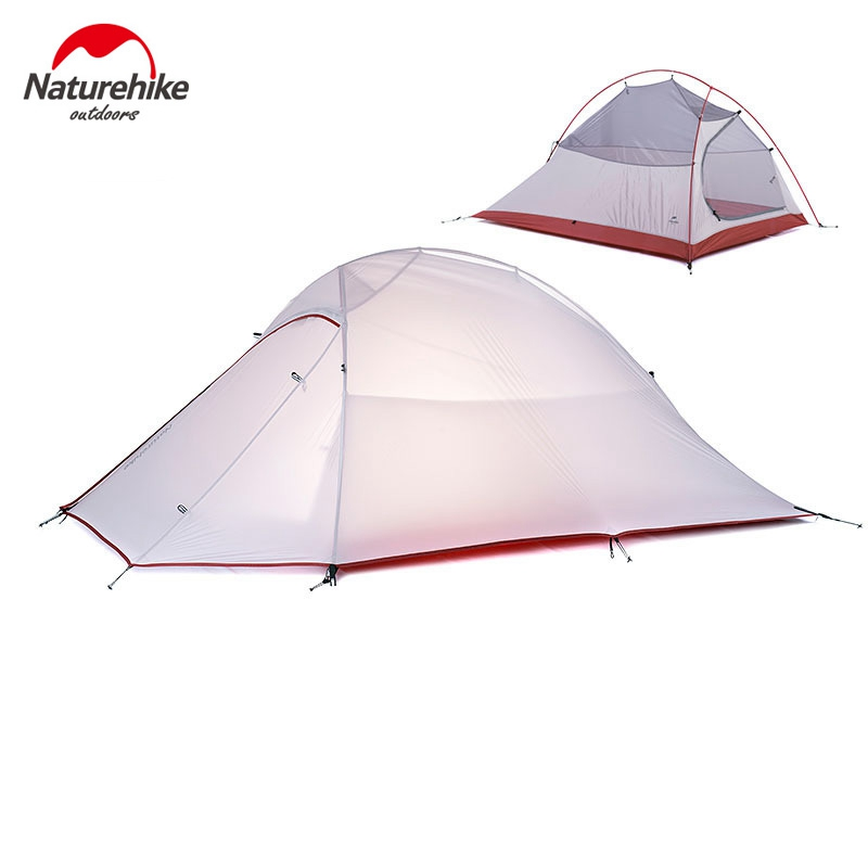 1.2KG Naturehike Tent 20D Silicone Fabric Ultralight 2 Person Double Layers Aluminum Rod Camping Tent 4 Season With 2 Person Mat good quality flytop double layer 2 person 4 season aluminum rod outdoor camping tent topwind 2 plus with snow skirt