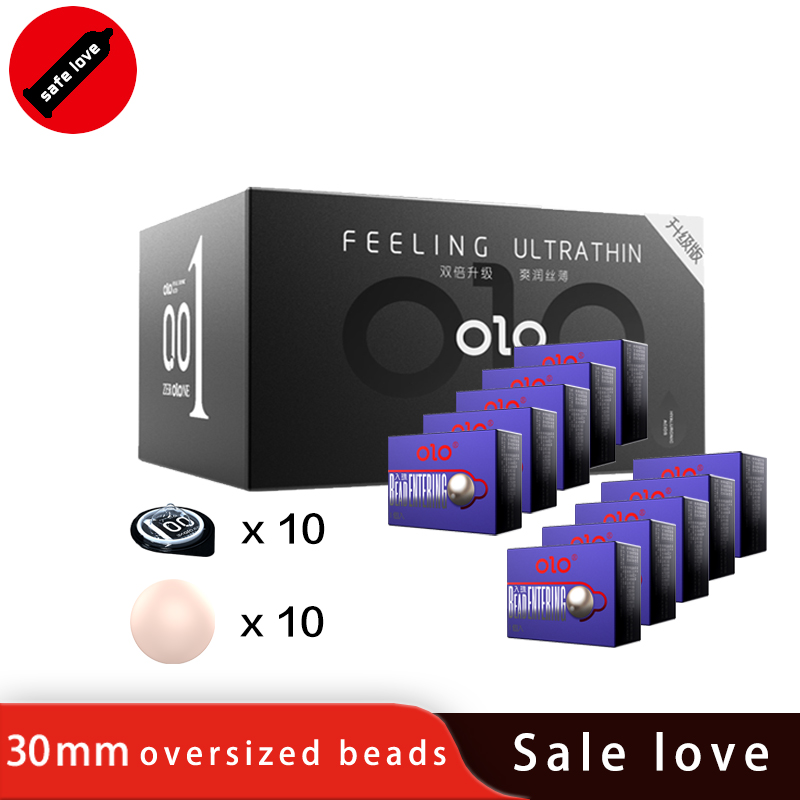 OLO Bead Condom 10PCS Ultra Thin Penis Enlargement Intimate Good Sex Products Natural Rubber Latex Penis Sleeve Sex for Men bulk in Condoms from Beauty Health