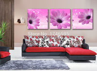 Big 3pcs modern home wall art for living room bedroom decor canvas Wall Art picture purple African daisy Gerbera print Painting