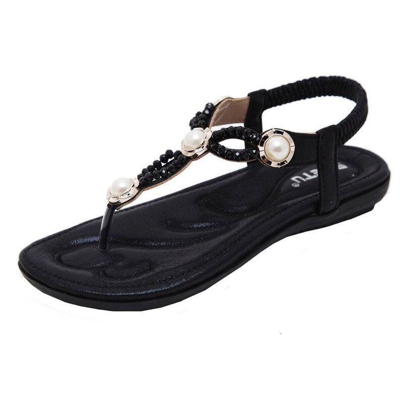 Flip-flops Frauen Mode Süße Sommer Böhmen Süße Perlen Sandalen Clip Toe Sandalen Strand Schuhe Fischgräten Sandalen Schuhe