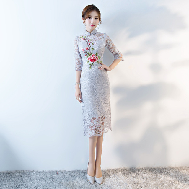 94b1081c3 2017 Fashion Lace Cheongsam Wedding Long Qipao Modern Chinese Dress Vestido  Oriental Evening Dresses Chino Tradicional Qi Pao