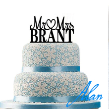 Custom Personalized Mr & Mrs Wedding Cake Topper with Your Last Name tall 6″ 3mm thick