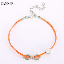 Canner 2019 Fashion Silver Infinity Heart Charm Bracelet Bangle Adjustable Leather Bracelets For Women Men Couple Jewelry W4 gvusmil alabama red white multi strands infinity silver color charm leather bracelet bangle for women fashion jewelry