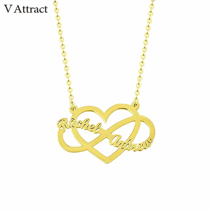 Coeur tour de cou infini collier à breloques personnalisé Couple noms collier femmes hommes bijoux personnalisé cadeau de mariage chaîne en or Kolye