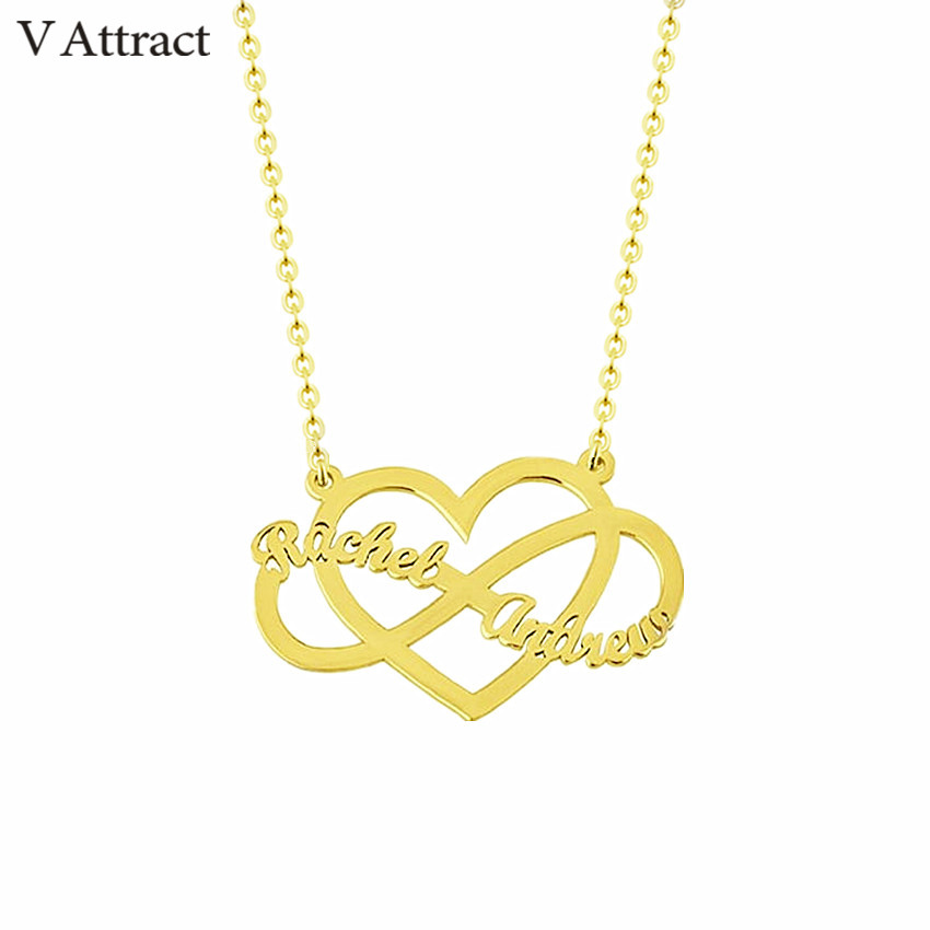 26c53788f2 Heart Choker Infinity Charm Necklace Custom Couple Names Necklace Women Men Jewelry  Personalized Wedding Gift Gold Chain Kolye