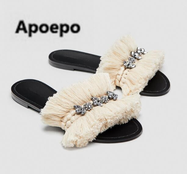 Apoepo casual home slippers women beige fringe flats shoes women summer crystal Bohemia sandals beach shoes chausson femme 2018 instantarts women flats emoji face smile pattern summer air mesh beach flat shoes for youth girls mujer casual light sneakers