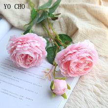 Yo cho 60cm peônias brancas flor artificial peônia flor de seda buquê flor artificial para decoração de casa casamento 3 cabeças rosa