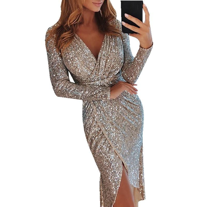 Sexy Club Wear Party Dress Women Silver V Neck High Slit Long Sleeve Sequin Dress Autumn Asymmetrical Bodycon vestidos mujer