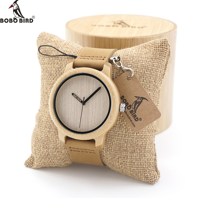 BOBO BIRD Men Watch Wooden Bamboo Wristwatch With Leather Band Sport Quartz Watches in Box Custom logo Drop ship bobo bird v a10 unique vogue womens bamboo wooden watch quartz outdoor sport watches with genuine leather strap montre femme