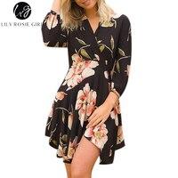 Lily Rosie Girl Women 2017 Black Floral Sezy Print Boho Deep V Neck Summer Party Mini