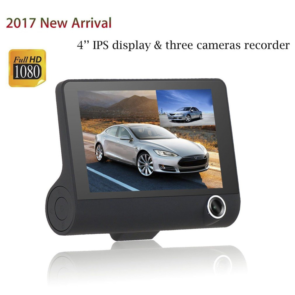 1080P HD 4 LCD Car DVR Camera Video Recorder With G-Sensor 170 degree 3 Lens Recorder + Rearview Camera Support Night Vision dual lens car rearview mirror dvr video recorder camcorder night vision 4 3 inch allwinner a10 2x140 degree wide angle