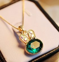 2015 fashion jewelry sea green rabbit control rabbit crystal cute full Fangzuan clavicle chain necklace wholesale(China)