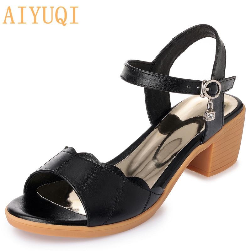 AIYUQI Women Sandals 2020 New Genuine Leather Women Sandals Plus Size Summer Female ,peep Toe Rome Shoes Woman Sandalie Fashion