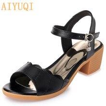 AIYUQI Women sandals 2021 new genuine leather women sandals plus size summer female ,peep toe Rome shoes woman sandalie fashion