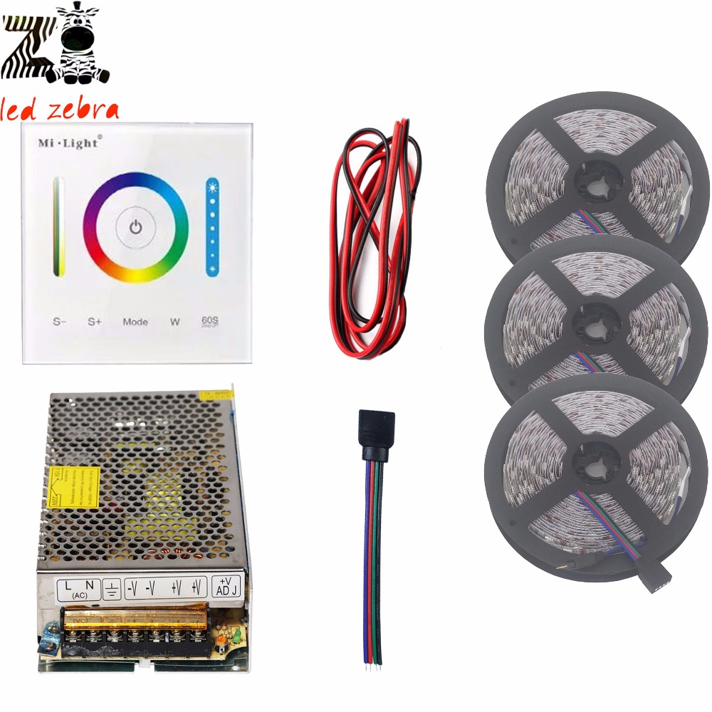 5m/10m/15m 5050SMD rgb led strip light+mi.light P3 led controller+12v led power supply+2pin 22awg led wire good group diy kit led display include p8 smd3in1 30pcs led modules 1 pcs rgb led controller 4 pcs led power supply