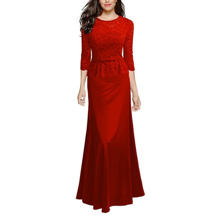 Wanita Retro Floral Lace Slim Peplum Panjang Evening Sexy Dress - Pakaian Wanita - Foto 2