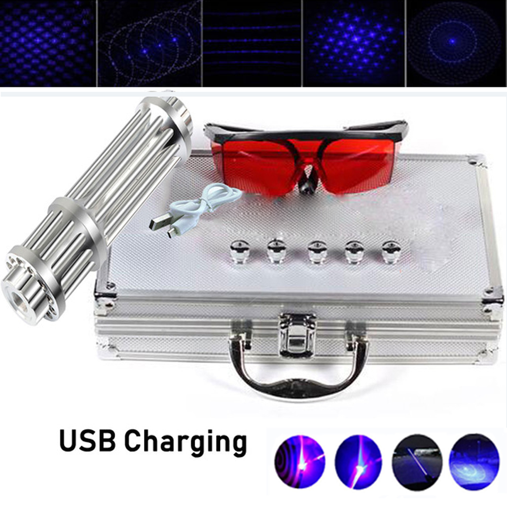 Most Powerful Burning Blue Laser Pointers USB Rechargeable Built in Battery Laser Torch 450nm 10000m Focusable