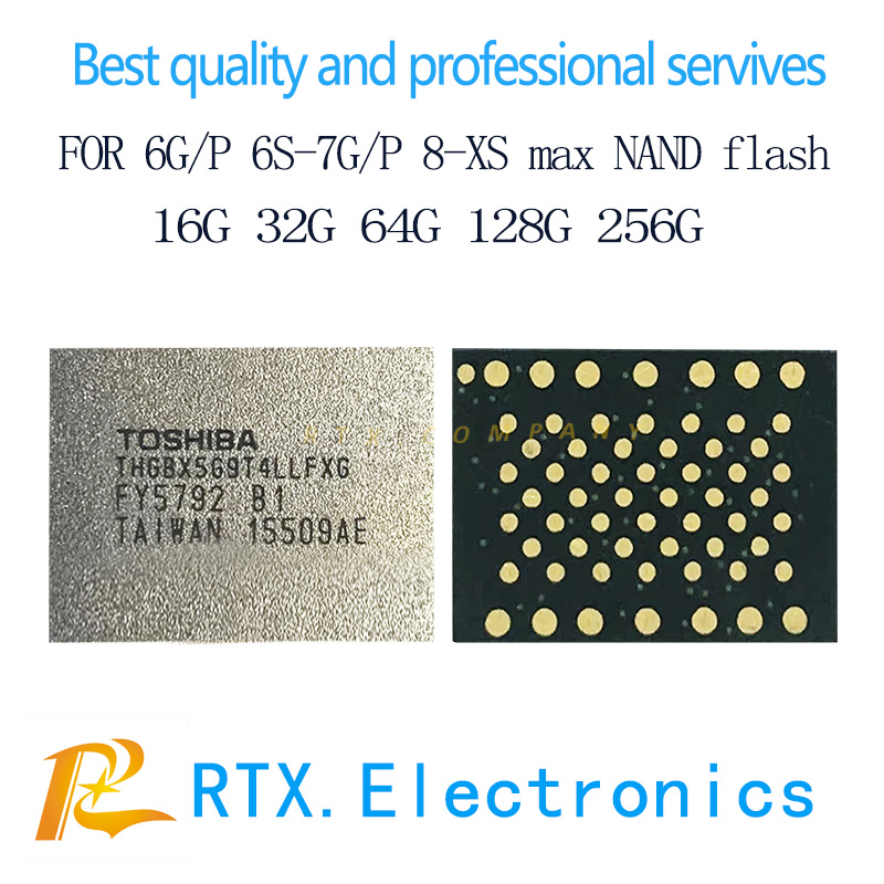 2pcs/lot 512G for IPhone 6s 6splus 7 7plus Nand IC flash memory IC chip with programmed mobile phone circuits repair replacement