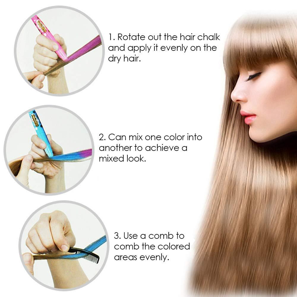 Купить с кэшбэком 12 Color Temporary Hair Chalk Pens Crayon Salon Washable Hair Color Dye Face Kit Safe for Makeup Party Christmas Gift for Kids