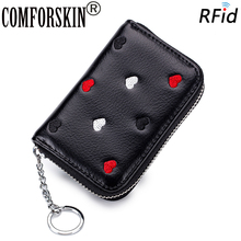 COMFORSKIN Carteras New Arrivals Multi-function RFID Protection Womens Purses Cute Embroidery Travelling Credit Card Wallets