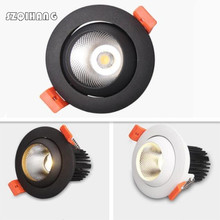 White and black shell Super Bright Dimmable LED Downlight COB 15W LED Ceiling Recessed Lights Spot Light Indoor down lamp Lighti цена