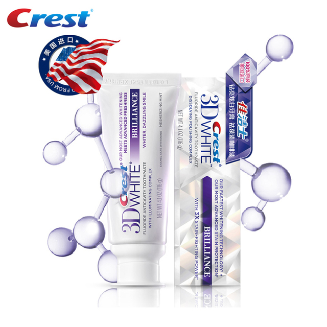 Cresta de pasta de dientes 3D blanco avanzado blanqueamiento dental higiene bucal pasta de dientes de eliminación de Tartar para deslumbrante exprimidor de tubo de sonrisa 116g