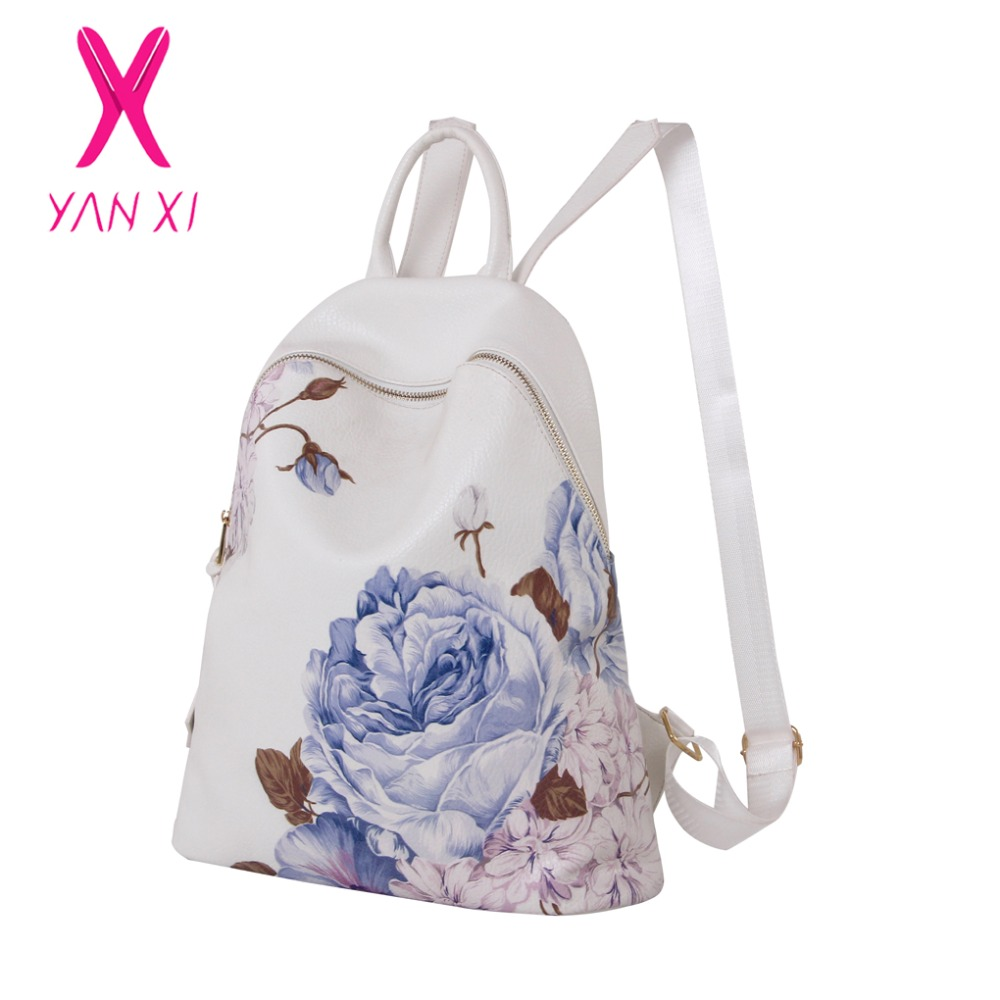 YANXI Factory Outlet High Quality PU Backpacks Blue and white printing Chinese Style Backpack Famous Brand