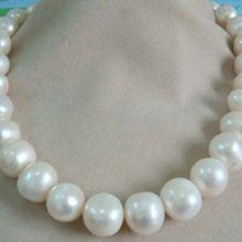 Огромный 13-15 мм Южное море подлинное белое жемчужное ожерелье 14 К/20