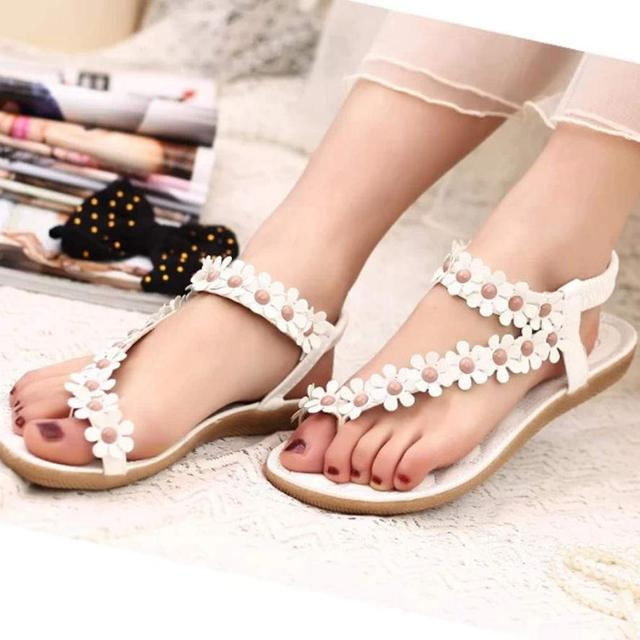 30e400566ae5b Women s Fashion Sweet Summer Bohemia Sweet Beaded Sandals Clip Toe Sandals  Beach Shoes Herringbone Sandals Shoes