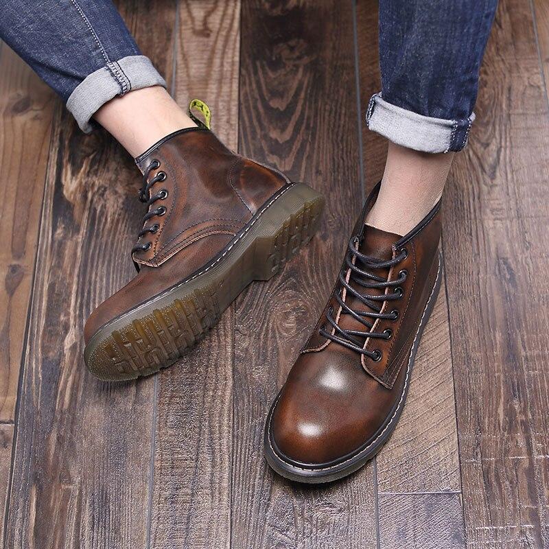 gris Chaussures De Hommes Noir bleu Cuir Martin Richelieus marron Bottes En Automne Mode Homme vin Moto Printemps Vache Unisexe Chaussure Rouge Cheville HdqxHO