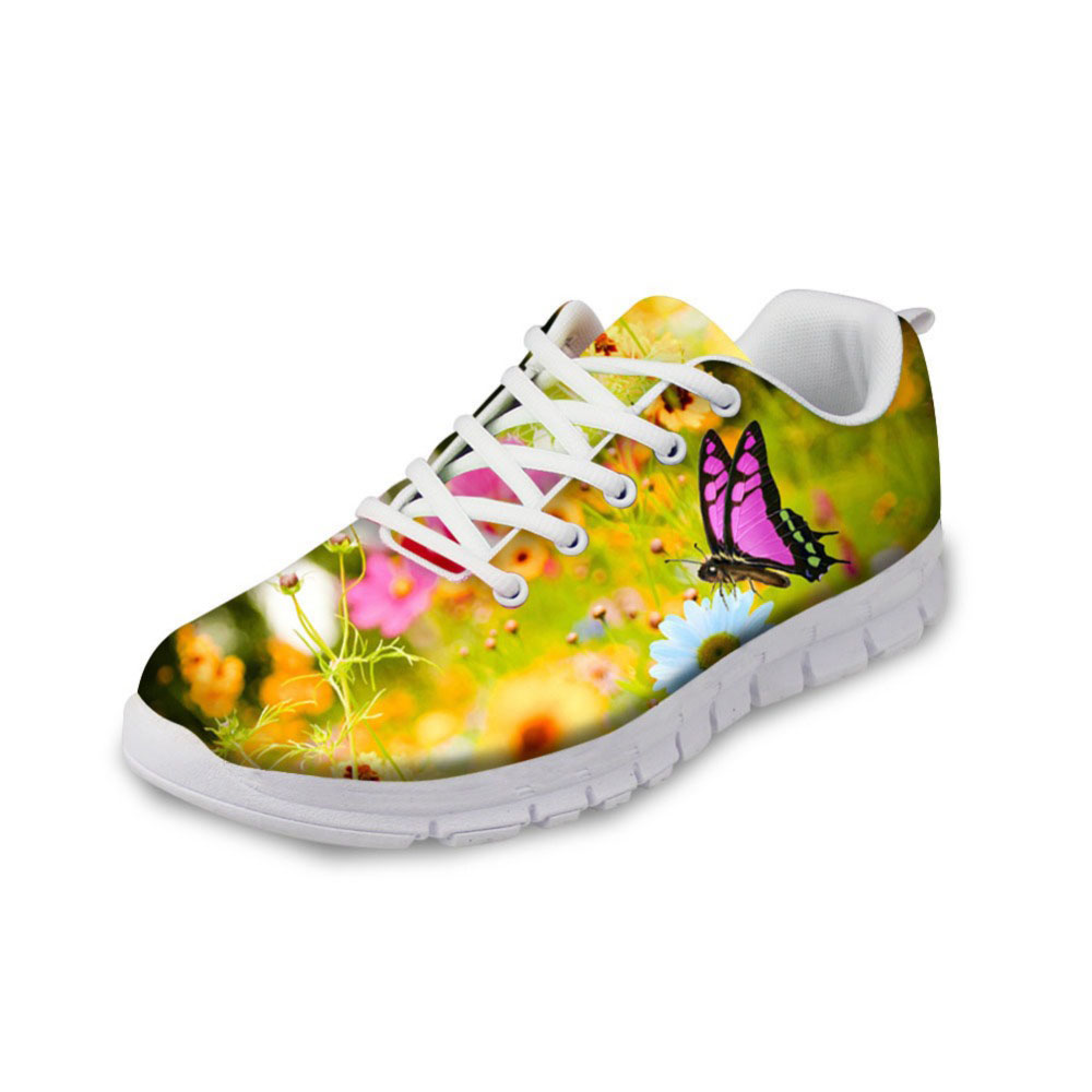 NOISYDESIGNS Cute 3D Animal Butterfly Printed Woman flat Shoes Fashion Women s Lace up Flat Breathable