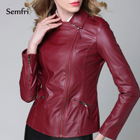 Semfri Motorcycle Jacket Pu Leather Jacket Women Fashion Bright Colors Black Motorcycle Coat Short Faux Leather Biker Jacket Sof