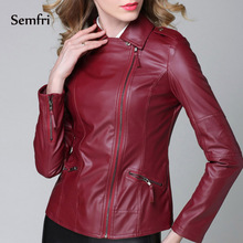 Semfri Motorcycle Jacket Pu Leather Women Fashion Bright Colors Black Coat Short Faux Biker Sof
