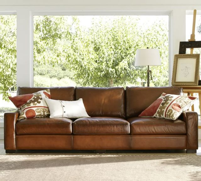 S003 L TURNER LEATHER SQUARE ARM SOFA 3 Seats