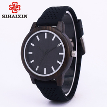 SIHAIXIN unique retro black zebra wooden dial with colorful soft silicone strap watch band for mens quartz wristwatches with box