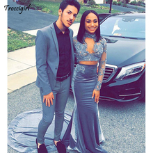 2019 Two Piece Mermaid Special Occasion Dresses Black Girls Prom Party Dress Long Sleeves High Neck Lace Appliques Party Gowns champagne new arrival juniors graduation dress glitz mermaid pageant dresses for juniors girls prom gowns for special occasion