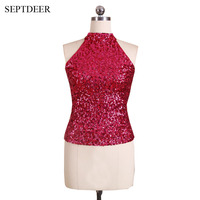 New Womens Sexy Club Tops Sleeveless Fashion Bling Bling Tee Sequin Off Shoulder Crop Top For