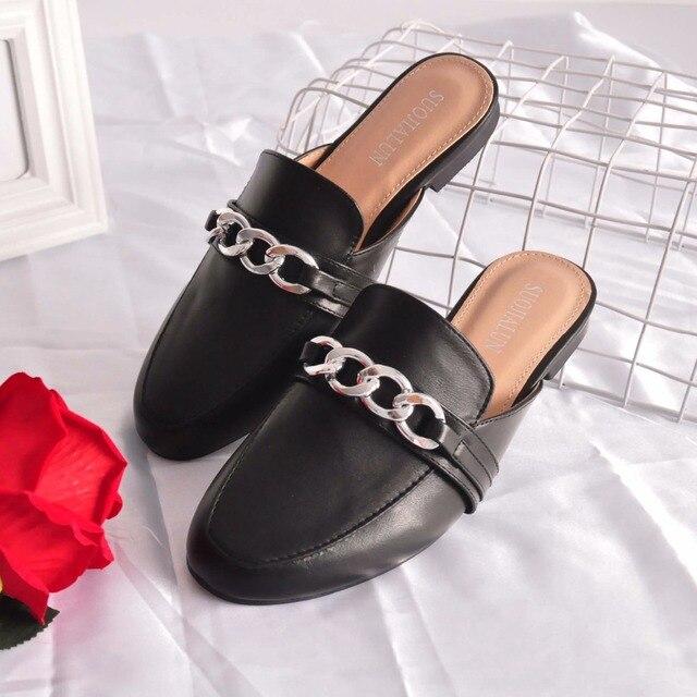 Bailehou/женские шлепанцы на плоской подошве без шнуровки, женские повседневные лоферы, Брендовая обувь в британском стиле с цепочкой, босоножк...