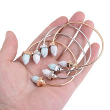 Jewelry Hot Gold White Adjustable Front Open Marble Stone Cuff Bangles Bracelet For Women Inner Dia 6cm
