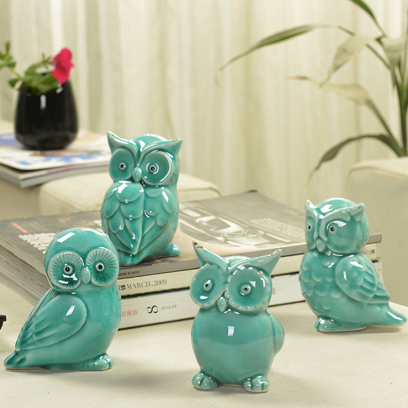 Ceramic Handicrafts Modern Owls Statue Living Room Animal Ornaments Owl Crafts Toy Home Decor  Figure 4 Style Optional~